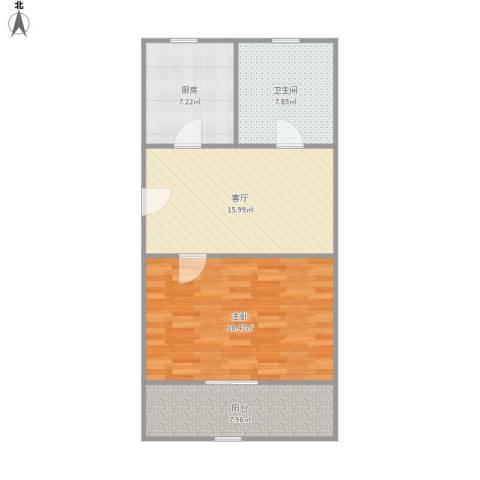 丰庄十四街坊1室1厅1卫1厨77.00㎡户型图
