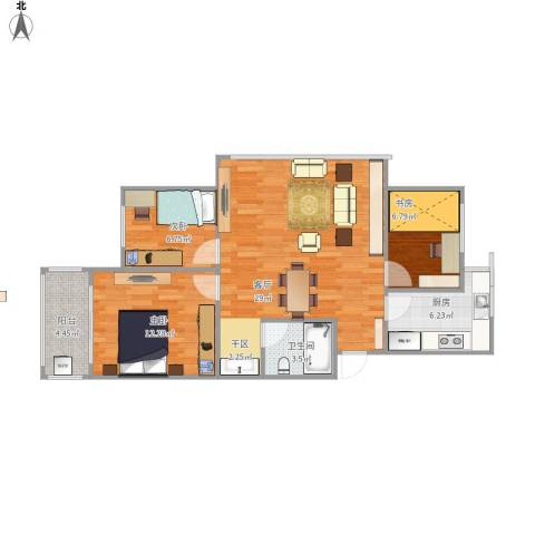 施家花园3室1厅1卫1厨93.00㎡户型图
