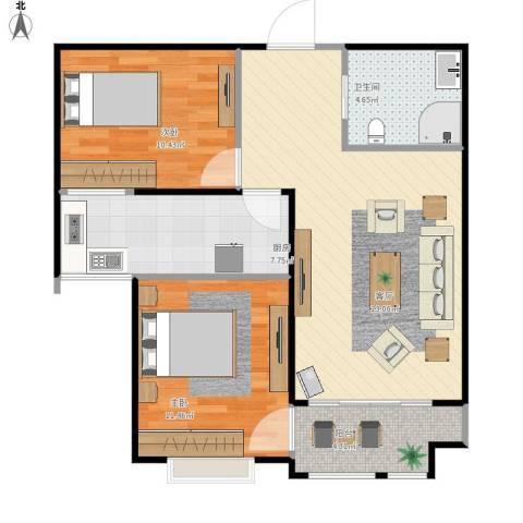 中央名邸2室1厅1卫1厨83.00㎡户型图