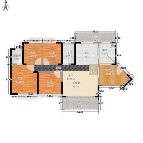 德洲城4室0厅2卫1厨134.00㎡户型图