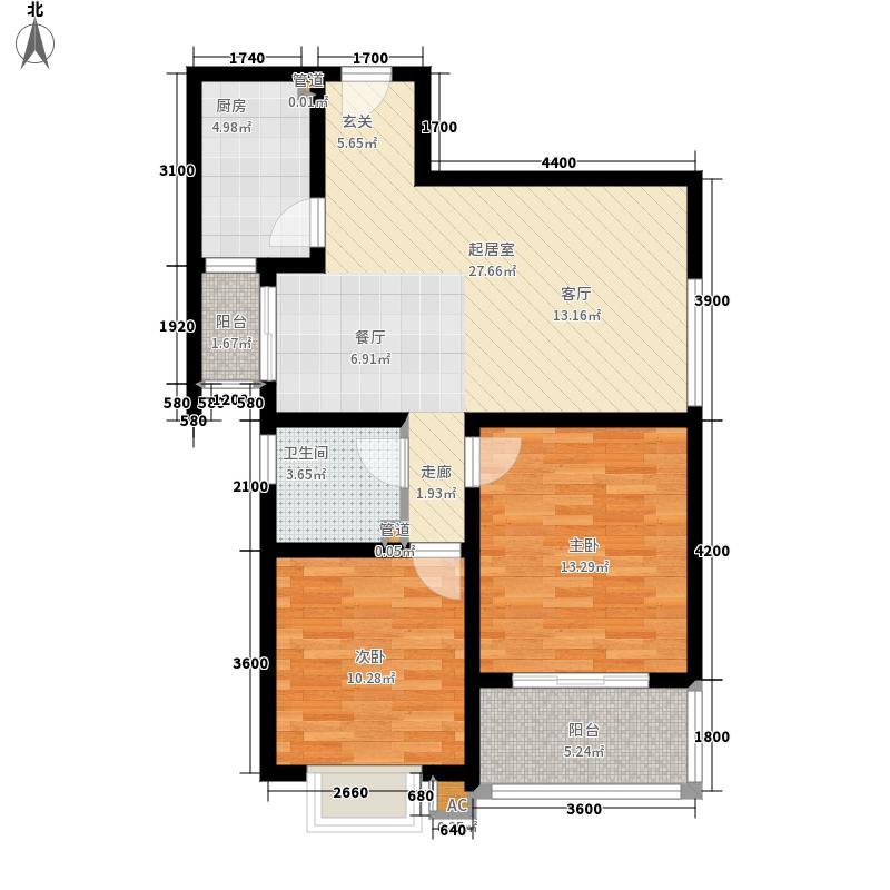 铭城国际社区92.78㎡3-3号楼4号楼5号楼C户型2室2厅
