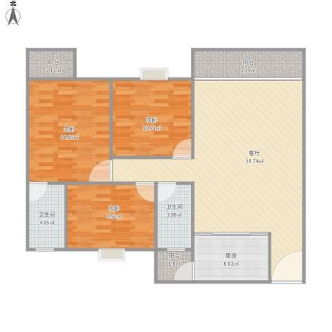 香晖晴园3室1厅2卫1厨127.00㎡户型图