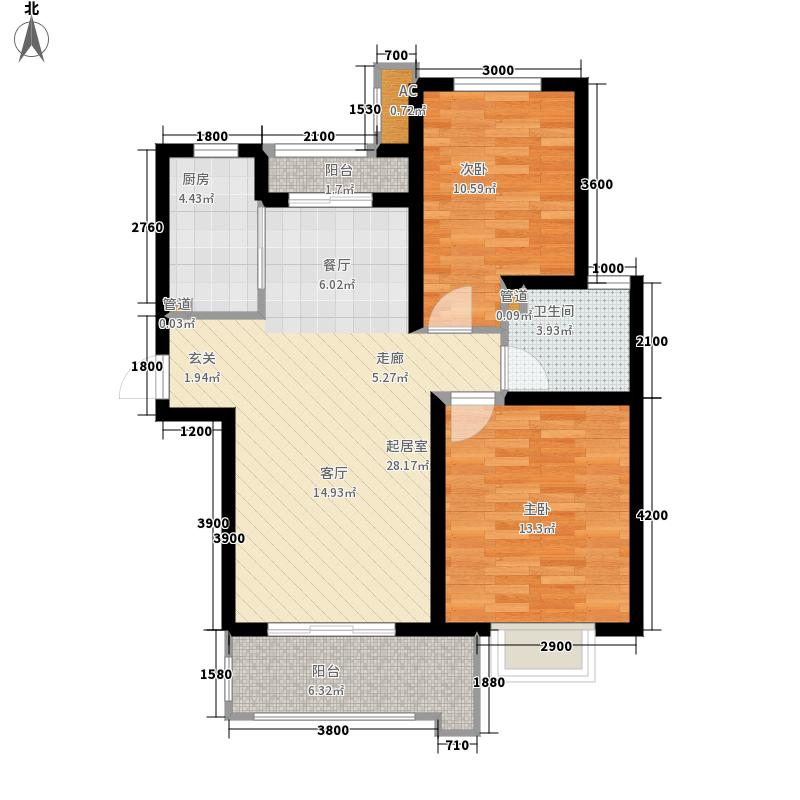 铭城国际社区93.79㎡3-6号楼D户型2室2厅