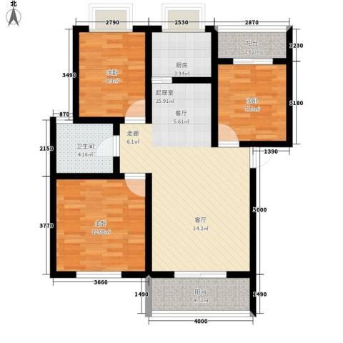 一米阳光美好家园3室0厅1卫1厨102.00㎡户型图