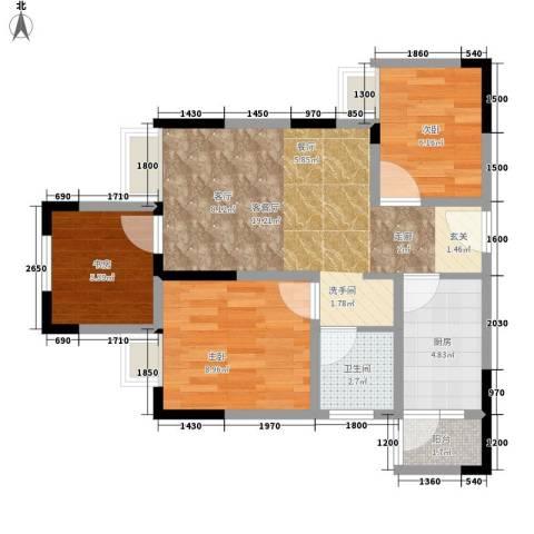 美每家美华星都3室1厅1卫1厨53.00㎡户型图