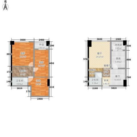 兰花丽景添丁3室1厅2卫1厨78.23㎡户型图