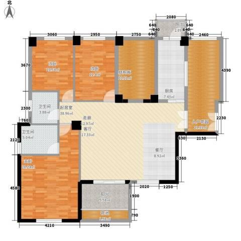 中正花园3室0厅2卫1厨185.00㎡户型图