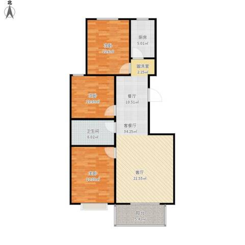向阳雅园3室1厅1卫1厨116.00㎡户型图