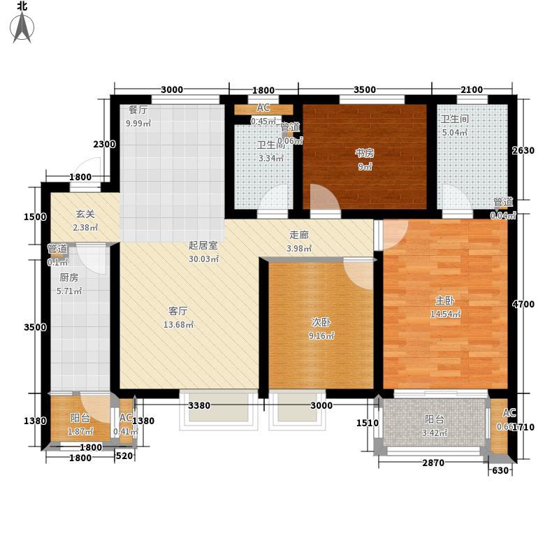 铭城国际社区116.58㎡2-1号楼C户型3室2厅