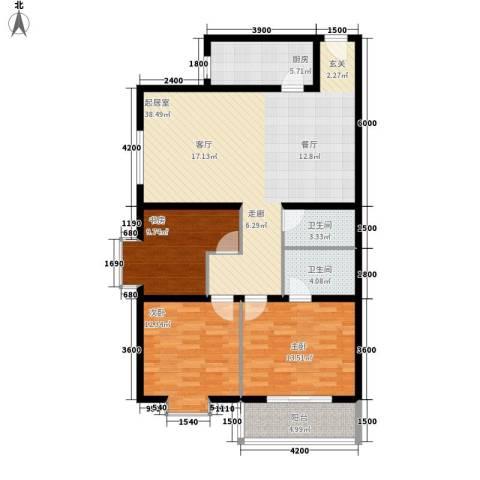 芙蓉新天地3室0厅2卫1厨131.00㎡户型图
