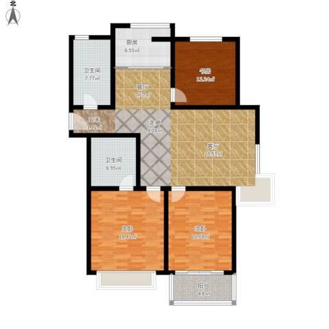 欧美世纪花园3室1厅2卫1厨160.00㎡户型图