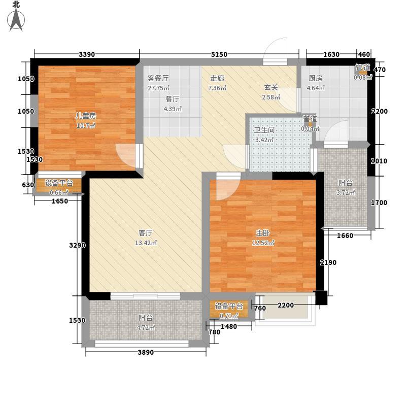 华润橡树湾92.00㎡E1户型2室2厅