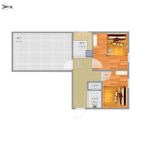 左家庄北里2室1厅2卫1厨55.00㎡户型图