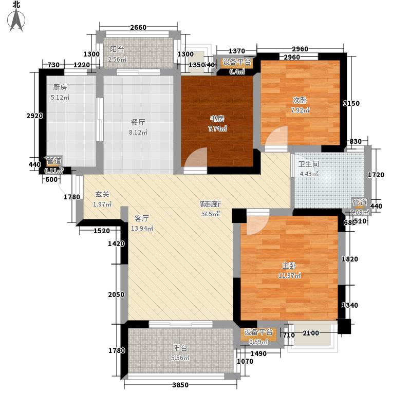 华润橡树湾112.00㎡B2'户型3室2厅