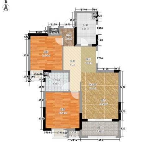 虹桥宝龙城2室1厅1卫1厨86.00㎡户型图
