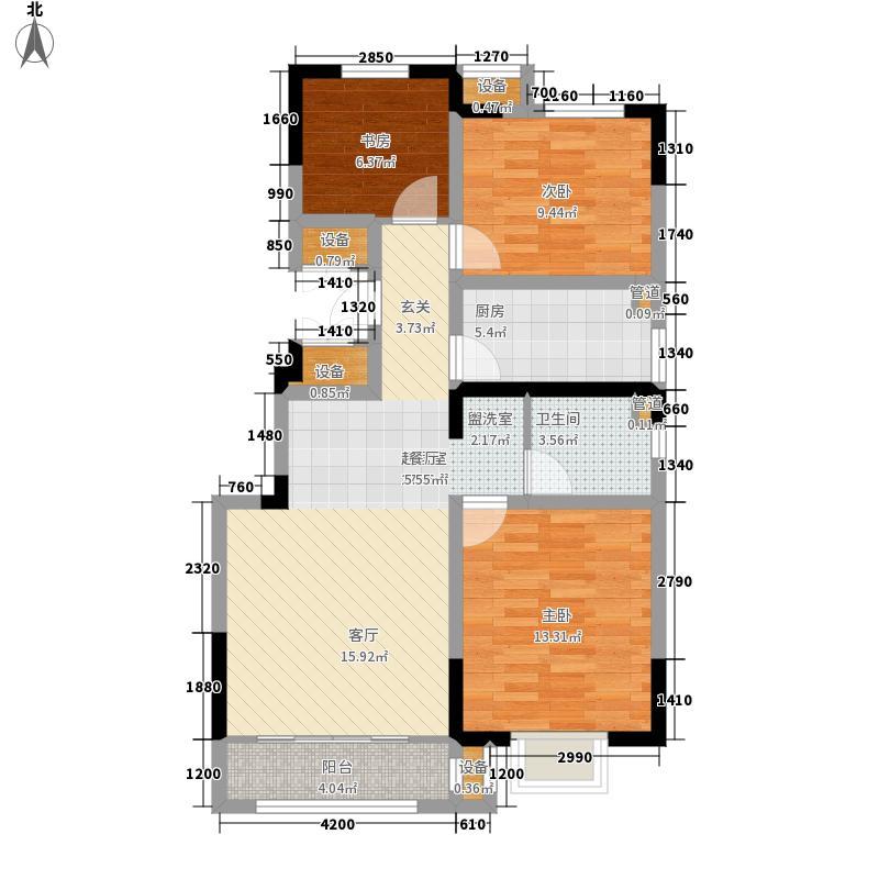 首创暖山99.00㎡洋房1、7、8号楼标准层D户型3室1厅