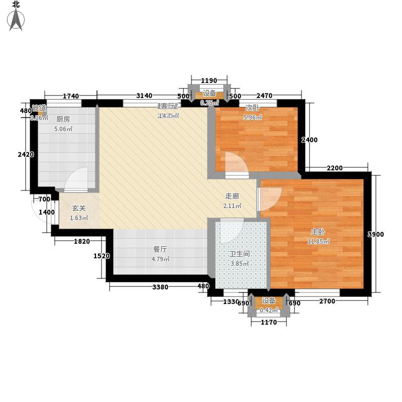 幸福公里75.00㎡高层标准层B-06户型2室2厅