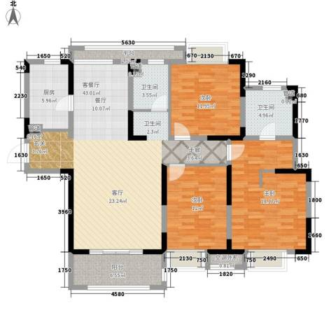 虹桥宝龙城3室1厅2卫1厨124.00㎡户型图