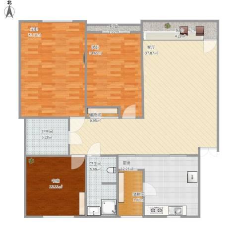 中环11区3室1厅2卫1厨160.00㎡户型图