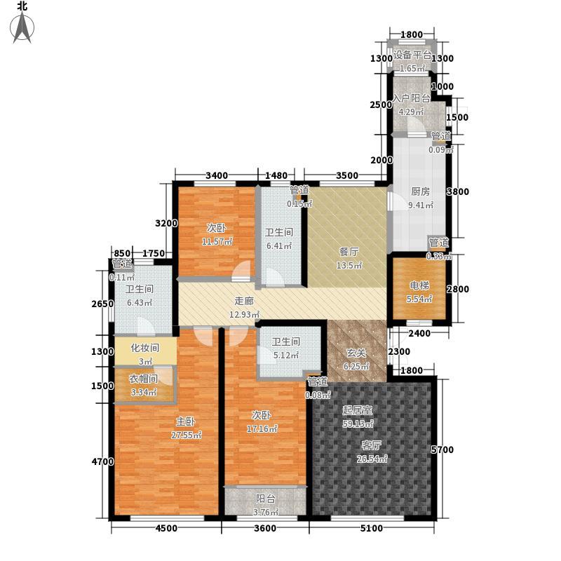 海河大观210.00㎡一期高层标准层户型3室2厅