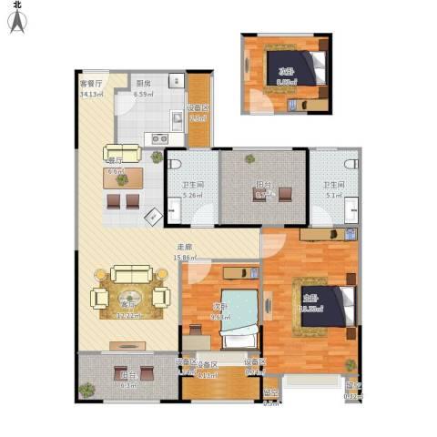 路劲城市主场3室1厅2卫1厨151.00㎡户型图