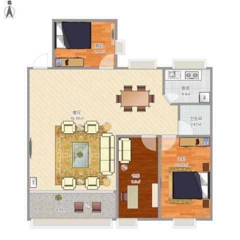 石龙旧城区住宅3室1厅1卫1厨113.00㎡户型图