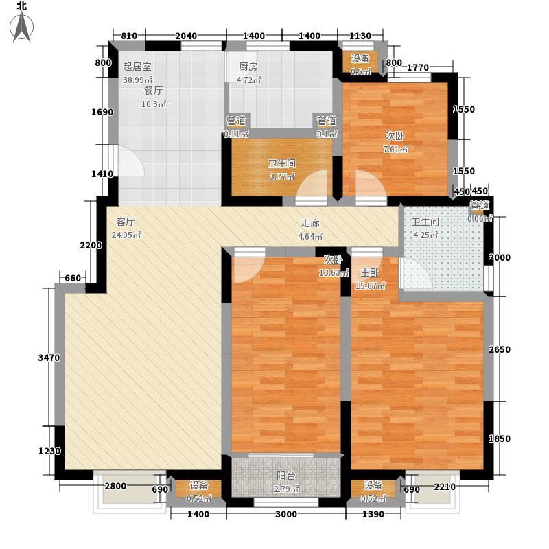 首创暖山127.00㎡洋房3、5号楼标准层G户型3室2厅