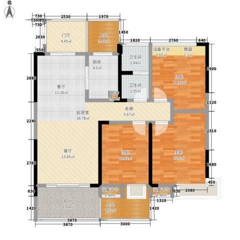 水安盛世桃源3室0厅2卫1厨118.00㎡户型图