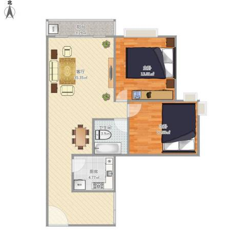 绿海名居2室1厅1卫1厨98.00㎡户型图