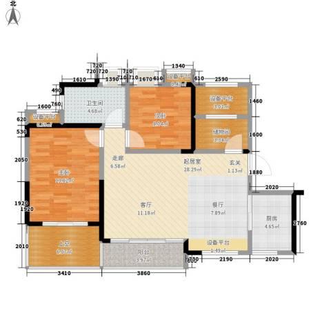 水安盛世桃源2室0厅1卫1厨95.00㎡户型图