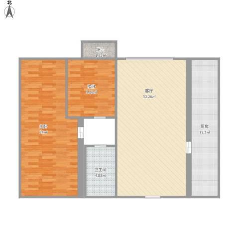 福临家园2室1厅1卫1厨115.00㎡户型图