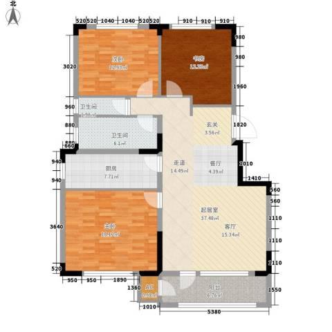 中海御湖熙谷3室0厅2卫1厨117.00㎡户型图