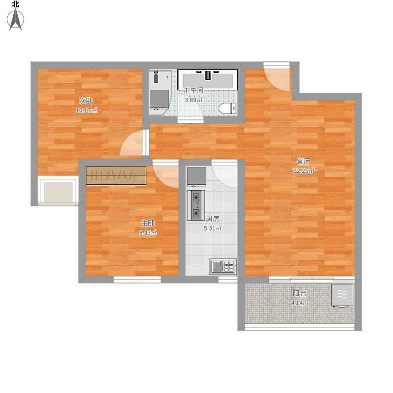 65平F1户型两室一厅