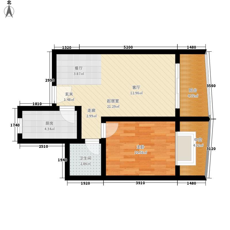 山水兰庭57.18㎡06-11户型1室2厅