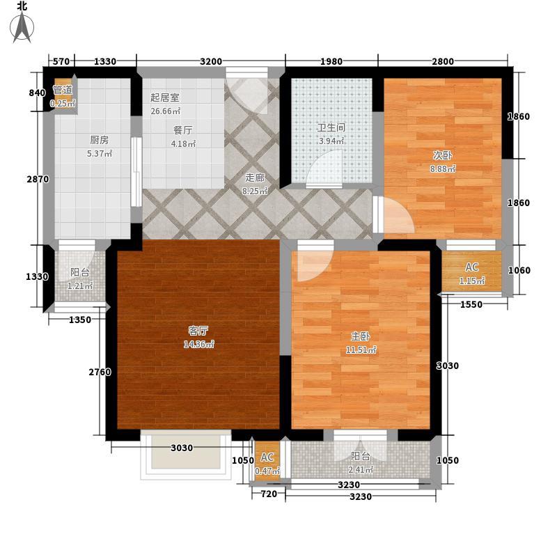 沽上江南92.45㎡19号楼标准层5-B户型2室2厅