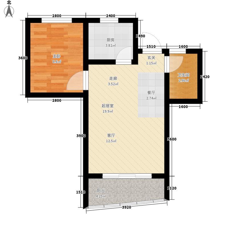 山水兰庭52.66㎡08+1偶数层户型1室2厅