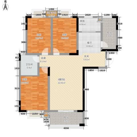 众发世纪城3室0厅1卫1厨123.00㎡户型图