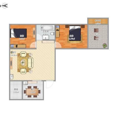 地矿家园2室2厅1卫1厨73.09㎡户型图