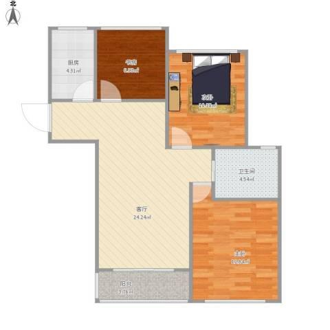 龙泽半岛逸湾3室1厅1卫1厨91.00㎡户型图