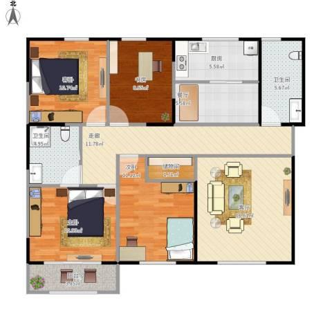 享堂小区4室2厅2卫1厨133.00㎡户型图