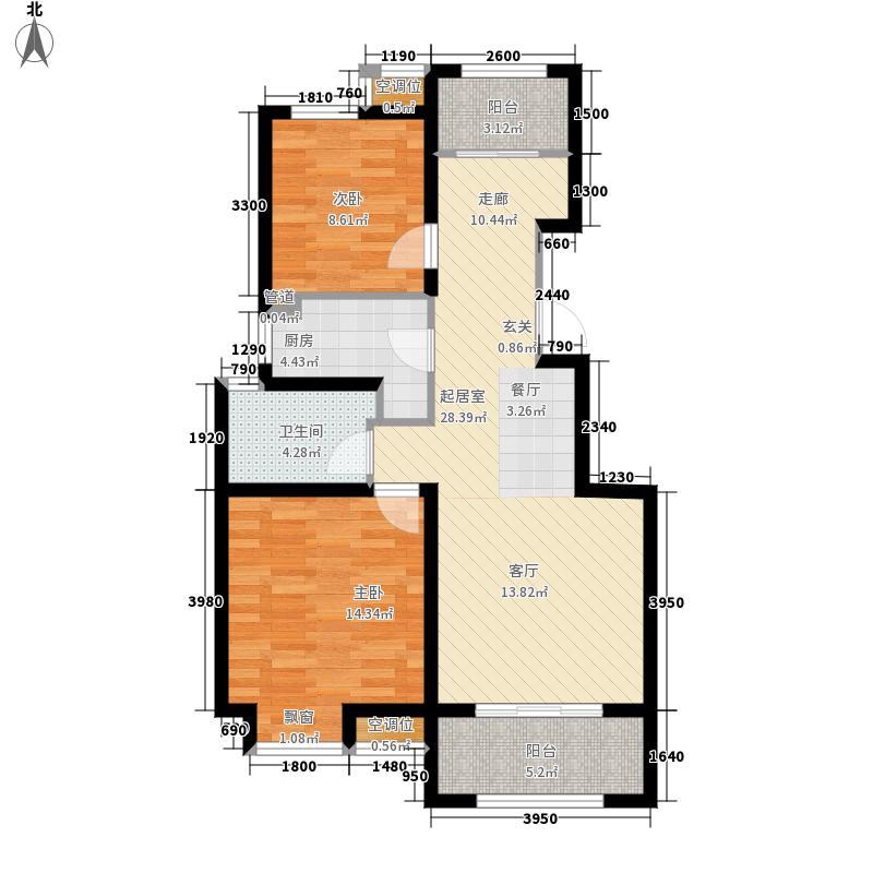 中海天悦府95.00㎡E户型3室2厅
