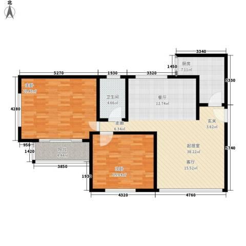 中山广场2室0厅1卫1厨100.00㎡户型图