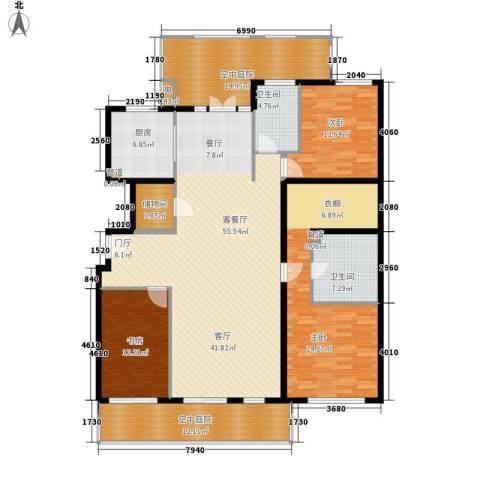 海棠公社3室1厅2卫1厨165.00㎡户型图