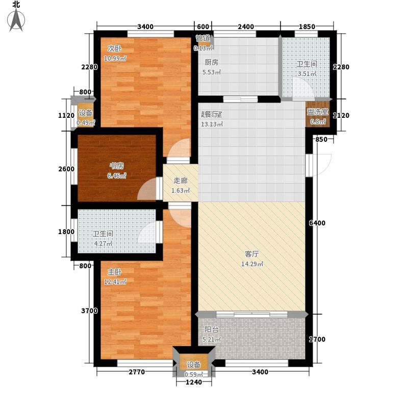 天房·天拖121.00㎡3、5号楼高层标准层A3户型3室2厅