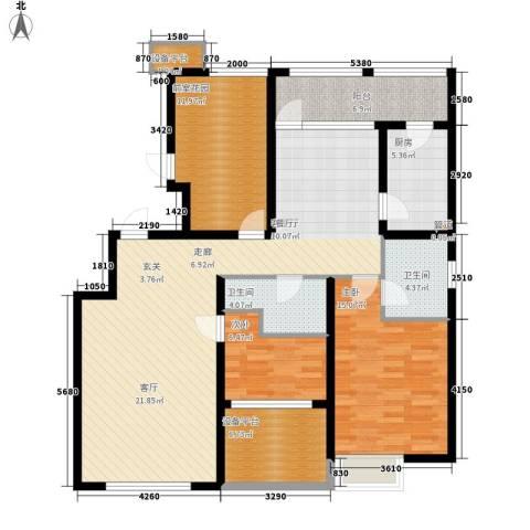 大苑·海淀名著2室1厅2卫1厨123.00㎡户型图
