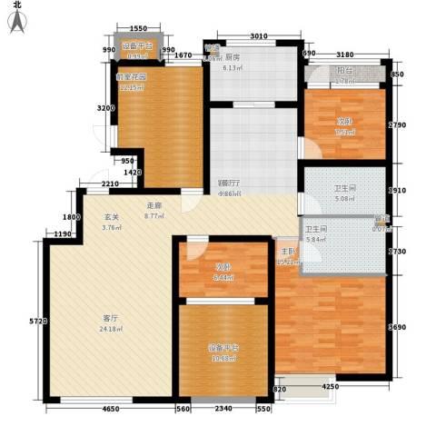 大苑·海淀名著3室1厅2卫1厨142.00㎡户型图