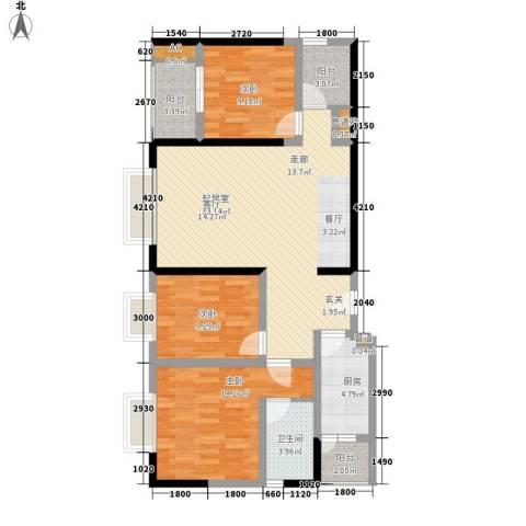一城龙洲3室0厅1卫1厨95.00㎡户型图