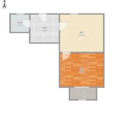 控江路1197弄小区1室1厅1卫1厨61.00㎡户型图