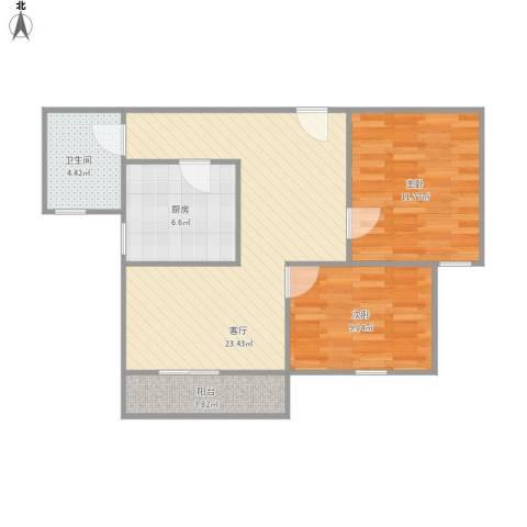 佘山假日半岛公寓2室1厅1卫1厨80.00㎡户型图
