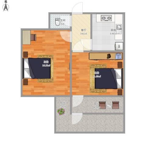 营市东街单位宿舍2室1厅1卫1厨69.00㎡户型图